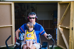 Happy Father's Day (GRO Photography) Tags: earmuffs dad son fathersday father shed earprotection work child chore lawnmower