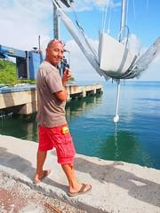 Launching his new, hand-built, 33' boat (stevieB) Tags: sailing yacht grenada caribbean handbuilt grenadamarine