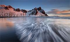 Glorious Iceland (Sandra OTR) Tags: travel winter light mountains cold beach nature sunrise landscape island iceland europe waves stokksnes