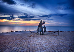The wait... (Poggio.34) Tags: travel blue sunset sea sky italy panorama water clouds landscape cesenatico