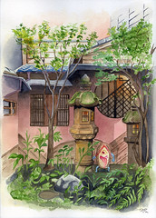 Yokai Garden (vlad_wakinyan) Tags: color art garden watercolor japanese background escenario traditionalart jardin drawings scene lantern acuarela watercolors kanazawa escena traditionalpainting yokai bakezori
