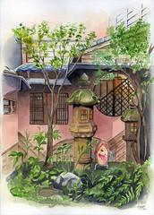 Yokai Garden (vlad_wakinyan) Tags: color art garden watercolor japanese background escenario traditionalart jardin drawings scene lantern acuarela watercolors kanazawa escena traditionalpainting yokai bakezori