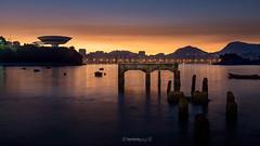 Sunrise @ #Niteroi #Brazil (higordepadua) Tags: praia riodejaneiro de landscape mac boa viagem niteroi praiadeboaviagem sunrisedawn niteroicontemporaryartmuseum 2016summerolympicsriodejaneiro