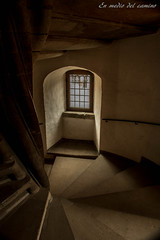 Y subir, y bajar, y volver a subir... / Climbing up, and down, and up again... (En medio del camino) Tags: europa europe dinamarca denmark helsingor castillo castle kronborg hamlet escalera stairs interior indoors ventana window peldaos steps columna column luz light