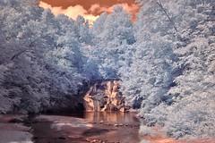 Cane Creek Falls IR (Neal3K) Tags: trees clouds creek ir waterfall infraredcamera campglisson kolarivisionmodifiedcamera