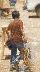 copper tone boy (Pejasar) Tags: copper tones boy paint art texture color metalvaseandflowers ornamentalart carry child antigua market guatemala