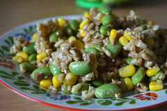 Tamari Lime Tempeh and Rice with Edamame and Corn (Mr. Tender Branson) Tags: blog cook click write listen borntorun veganomicon writeclickcooklistenblog tamarilimericewithedamameandcorn