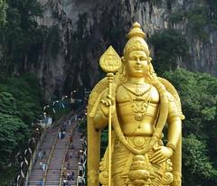 The world's tallest statue of Murugan (pjpink) Tags: fall tourism temple october shrine caves malaysia kualalumpur hindu kl batu batucaves 2014 pjpink