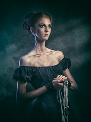 Macy (dracorubio) Tags: woman girl strange dark dress pearls fantasy freckles