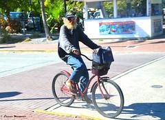 Key West cyclist (LMostazo) Tags: sunset people colors port muelle gente florida bicicleta move keywest hemingway personajes thekeys