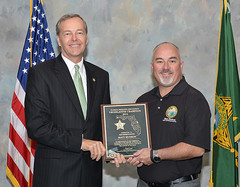 Rep. Matt Hudson being presented a Florida Sheriff's Association award from Collier County Sheriff Kevin Rambosk