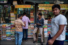 Book stall, Kolkata (benbw) Tags: india books kolkata calcutta fujixpro1 fuji18mmf2