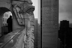 the.man.who.sold.the.world (jonathancastellino) Tags: roof urban toronto reflection building rooftop face stone architecture observation mask wear m gargoyle summicron deck hide edge ledge figure cbd leice rooftopping