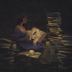 dreaming of ophelia (brookeshaden) Tags: art forest reading candles shakespeare books dreaming candlelight youngwoman hamlet enchanted purpledress fineartphotography ophelia darkart artphotography drippingwax conceptualphotography brookeshaden