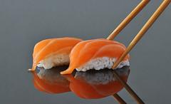 Pick me up (jh_tan84) Tags: food orange fish reflection japan sushi lunch japanese raw rice sashimi salmon chopsticks nigiri foodphotography