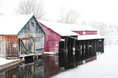 Garages On The River On A Wintery Day (Robert F. Carter) Tags: crookedriver boathouses rivers alanson michigan winter inlandwaterway northernmichigan crookedtreephotographicsociety robertcarterphotographycom ©robertcarter puremichigan