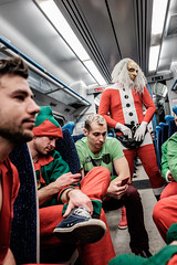 Santa Arrives (Andrew Stawarz) Tags: christmas train costume carriage passengers fujifilm darts elves dayout adobelightroom xt1 fujinonxf23mmf14r pdcworlddartschampionship2014