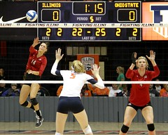 Start of the fifth set (RPahre) Tags: b1g volleyball huff huffhall ncaa universityofillinois champaign illinois ohiostate ohiostateuniversity elizabethcampbell andreakacsits annadorn serve theohiostateuniversity robertpahrephotography copyrighted donotusewithoutwrittenpermission