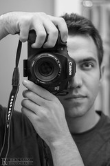 Canon Selfie (Rick Sause Photography) Tags: camera boy portrait blackandwhite bw white selfportrait black male guy eye face self canon project hair lens photography photo eyes body rick photograph cannon 365 selfie sause ricksausephotography