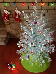Aluminum 2014 (bindlegrim) Tags: christmas home stockings wall modern vintage tile bright interior bricks kitsch retro ornaments decor colorwheel midcentury aluminumtree shineybrites