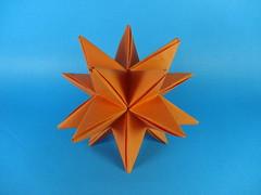 Greater Stellated Dodecahedron (OrigamiSunshine) Tags: ball paper spiky triangle origami super modular greater fold stellated simple paperfolding dodecahedron isosceles kusudama meenakshimukerji origamisunshine
