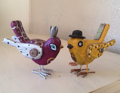 Steampunk birds (trishahillery) Tags: wood birds metal tim paint ooak inspired clay recycle whimsical burton reuse steampunk