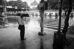 Rain in Taipei (sparth) Tags: street blackandwhite bw rain silhouette umbrella blackwhite nikon noiretblanc may nb noirblanc 2014 a nikona nikoncoolpixa