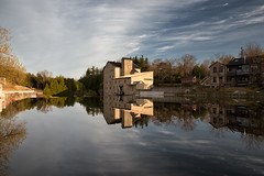 Elora Mill (Mark Heine Photos) Tags: ca morning sky ontario canada reflection clouds sunrise grandriver smalltown elora eloramillinn markheine