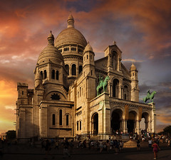 Sacre Coeur (Basilica of the Sacred Heart of Paris), Paris, France :: HDR (:: Artie | Photography ::) Tags: old city sunset paris france building history church monument statue skyline architecture canon buildings ancient europe christ outdoor dusk basilica political structures engineering landmark sacrecoeur coeur sacre structure architectural historic summit historical popular 1914 1740mm hdr cultural gable romancatholic sacredheart artie sacredheartofjesus sacrcur highestpoint buttemontmartre equestrianstatues basiliquedusacrcur minorbasilica paulabadie saintjoanofarc 5dmarkii 5dm2 basilicaofthesacredheartofparis kingsaintlouis nationalpenance