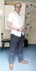 Trying to look smart (Jasrmcf) Tags: man male guy shirt glasses shoes watch hunk single blonde trousers dapper beaed