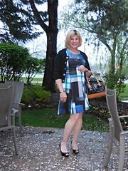 CK Blue Scuba dress (krislagreen) Tags: blue black pumps dress cd femme hose tgirl transgender blond crossdress tg paintednails patent feminization peeptoes feminized