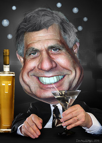 Les Moonves - Caricature - Drunk on Trump Campaign Vodka