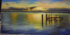 My latest creation in oil (Marian Pollock - Thanks for a million+ views) Tags: sunset sea art water clouds reflections painting pier artwork drawing melbourne canvas oil stkilda