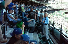 Cheerleading Usher - May 11, 2016 (Jeffxx) Tags: mariners seattle 2016 audience woman usher 237 section lady 238 terrace club rainier beer can girl green hair old seats
