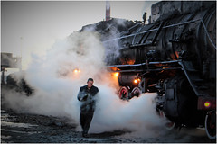 Steam Workhorse (Welsh Gold) Tags: china morning republic shift steam peoples fireman xinjiang locomotive js province preparations sandaoling dongbolizhan