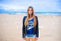 Ma Cherie (Steve Lundqvist) Tags: sea portrait sky beach girl leather sport hair seaside mare open jacket blonde shorts ritratto ragazza sportwear