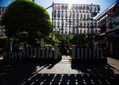 Shrine Outside of Senso-Ji Temple (KellarW) Tags: asakusa asakusadistrict tokyo shrine flare lensflare sunflare sake bottles sakebottles shadows canon5diii canon1635f40is 5diii 5dmarkiii 5dmkiii sunny morning shade