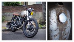 Motorbike Diptych (peterphotographic) Tags: old uk two england london bike wheel prime rust diptych britain decay f14 pair olympus motorbike chrome parked e17 walthamstow eastlondon petroltank microfourthirds peterhall em5mk2 p5301070ed1dipedwm