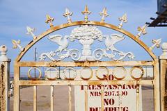 No Trespassing, Vegas Strip (aylmerqc) Tags: usa abandoned sign metal fence rust desert lasvegas empty nevada dump nv rusted ugly trespass scrub blight trespassing dumping vegasstrip