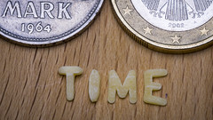 [Explore 2016-06-07] MM - Time - Deutsche Mark 1964, Euro 2002 (stefanfricke) Tags: macro coin time fav50 euro mark sony letter noodle mm fav100 macromondays a6000 ilce6000