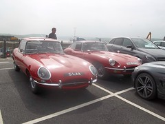 Red E Type Jaguars #2 (occama) Tags: old uk red 1969 car cornwall duo pair e type british jaguar 1970 coupe 42 1964 etype 5laa uge577h