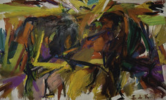 Elaine de Kooning  Bullfight, 1959. Painting: oil and oil on canvas, 198.1 x 331.5 cm. Following her separation in 1957, Elaine left New York for a teaching appointment as visiting Professor at the University of New Mexico. This gave her the opportunity (ArtAppreciated) Tags: abstract art museum modern female century painting de colorful action fineart modernism denver blogs american 1950s artists expressionism elaine hi abstraction res bullfight mid 20th kooning 4p artblogs tumblr artoftheday artofdarkness date1959 artappreciated artofdarknessco artofdarknessblog
