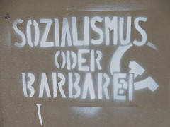 Socialism or Barbarism? (mikecogh) Tags: berlin graffiti symbol extreme choice socialism hammerandsickle polemic