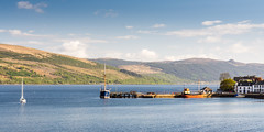Loch Fyne (Joe Dunckley) Tags: uk sea summer mountain nature water sailboat landscape scotland boat highlands argyll transport sunny transportation steamboat inveraray lochfyne westhighlands scottishhighlands sealoch clydepuffer