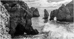 Algarve Mono, Portugal (CvK Photography) Tags: autumn blackandwhite bw holiday seascape color fall portugal nature monochrome canon faro coast blackwhite europe lagos algarve pt monochroom