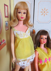 Pretty in Yellow (Foxy Belle) Tags: francie doll mattel vintage barbie mod cousin yellow baby pajamas littlechap room family den paper cardboard structure remco