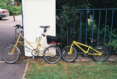 Same Size Wheels (cycle.nut66) Tags: film yellow bmx fuji kodak space scan 200 frame fujifilm analogue gt 27 retinette schneider kreuznach moulton tsr iia 4528