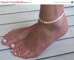ON SALE 20% OFF Delicate Light Green Anklet With 3 Gold Beads - Multistrand Ankle Bracelet - Anklet Triple Strand - Colorful Anklet (galcohen2014) Tags: summer white beach foot under jewelry charm gift bracelet bridesmaid 20 bridal delicate ankle beaded dainty anklet