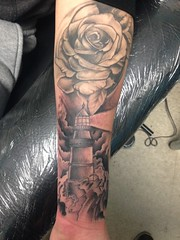 Lighthouse rose tattoo by Wes Fortier - Burning Hearts Tattoo Co. 1430 Meriden Rd.  Waterbury, CT