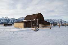 bygone barn (laura's POV) Tags: winter snow mountains west ice nature barn fence jackson rockymountains wyoming tetons jacksonhole oldwest grandtetonnationalpark gtnp lauraspointofview lauraspov